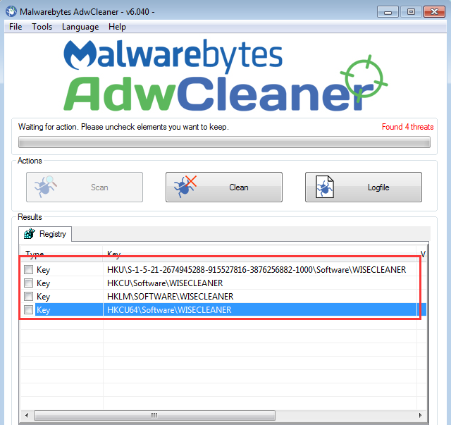 malwarebytes registry key location